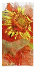 Sunflower In Red Hand Towel