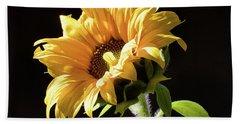 Sunflower Isloated On Black Hand Towel