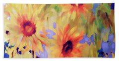 Sunflower Joy Watercolor Bath Towel