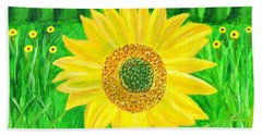 Bath Towel featuring the painting Sunflower  by Magdalena Frohnsdorff