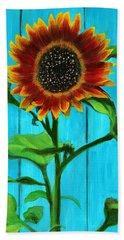 Sunflower On Blue Bath Towel