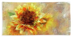 Sunflower On Fire Bath Towel