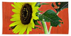 Hand Towel featuring the photograph Sunflower On Red 2 by Sarah Loft