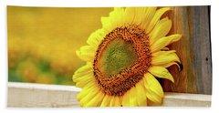 Sunflower On The Fence Bath Towel