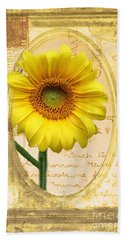 Sunflower On Vintage Postcard Hand Towel