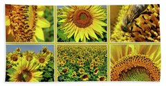 Sunflower Story - Collage Bath Towel