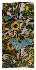 Hand Towel featuring the painting Sunflower Tower by Ron Richard Baviello