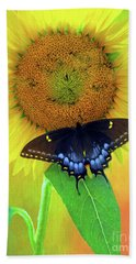 Sunflower With Company Bath Towel by Marion Johnson