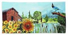 Sunflowers And Jaybird Hand Towel