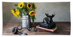 Sunflowers And Phone Hand Towel