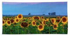 Bath Towel featuring the photograph Sunflowers At Dawn by John De Bord
