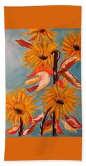 Sunflowers At Harvest Hand Towel by Sharyn Winters