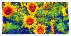 Sunflowers Dance In A Field Hand Towel
