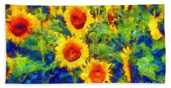 Sunflowers Dance In A Field Bath Towel