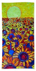 Sunflowers Field At Sunrise Hand Towel
