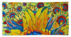 Sunflowers Field In Sunrise Light Bath Towel