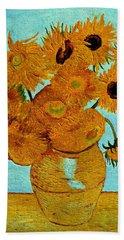Sunflowers Bath Towel by Henryk Gorecki