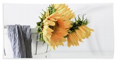 Hand Towel featuring the photograph Sunflowers In A Basket by Kim Hojnacki