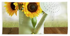 Sunflowers In An Old Watering Can Bath Towel