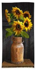 Sunflowers In Copper Milk Can Bath Towel