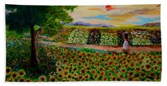 Sunflowers In Sunset Hand Towel