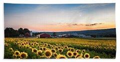Sunflowers, Moon And Stars Bath Towel