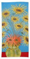 Sunflowers On Blue Hand Towel by Marie Schwarzer