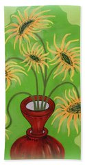 Sunflowers On Green Bath Towel by Marie Schwarzer
