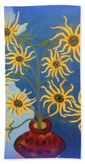 Sunflowers On Navy Blue Hand Towel