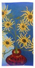 Sunflowers On Navy Blue Bath Towel