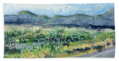 Sunflowers On The Way To The Great Sand Dunes Bath Towel by Holly Carmichael