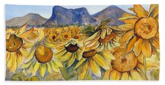 Hand Towel featuring the painting Sunflowers Springsure, Queensland by Ryn Shell