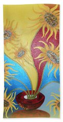Sunflowers Symphony Bath Towel by Marie Schwarzer
