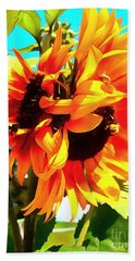 Hand Towel featuring the photograph Sunflowers - Twice As Nice by Janine Riley