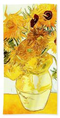 Sunflowers Van Gogh Bath Towel