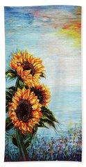 Sunflowers - Where Ocean Meets The Sky Hand Towel