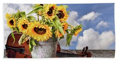 Sunflowers With Violin Bath Towel