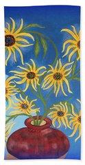 Sunflowers On Navy Blue Hand Towel