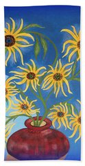 Sunflowers On Navy Blue Bath Towel by Marie Schwarzer