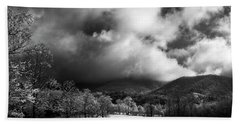 Sunlight Clouds And Snow In Black And White Bath Towel