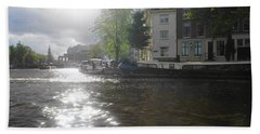 Hand Towel featuring the photograph Sunlight On Canal In Amsterdam by Therese Alcorn