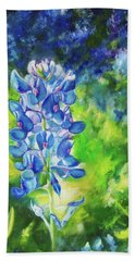 Bath Towel featuring the painting Sunlit Bluebonnet by Karen Kennedy Chatham
