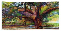 Bath Towel featuring the painting Sunlit Century Tree by Hailey E Herrera