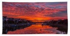 Sunlit Sky Over Morgan Creek -  Wild Dunes On The Isle Of Palms Bath Towel