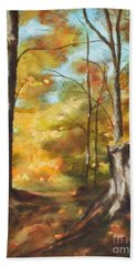 Sunlit Tree Trunk Hand Towel