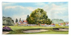 Bath Towel featuring the painting Sunningdale Golf Course 18th Green by Bill Holkham