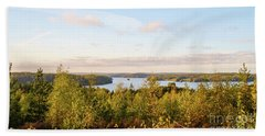 Sunny Autumn View At The Lake Hiidenvesi Hand Towel