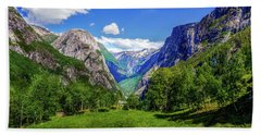 Hand Towel featuring the photograph Sunny Day In Naroydalen Valley by Dmytro Korol