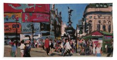 Hand Towel featuring the painting Sunny Piccadilly by Nop Briex