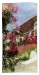 Bath Towel featuring the photograph Sunny Santorini by Lois Bryan